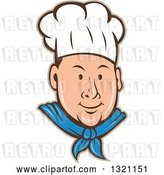 Vector Clip Art of Retro Cartoon White Male Chef Face in a Toque, with a Tan Outline by Patrimonio