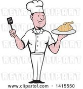 Vector Clip Art of Retro Cartoon White Male Chef Holding a Spatula and Serving a Roasted Chicken by Patrimonio