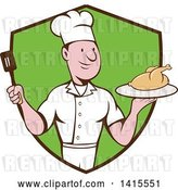 Vector Clip Art of Retro Cartoon White Male Chef Holding a Spatula and Serving a Roasted Chicken in a Black and Green Shield by Patrimonio