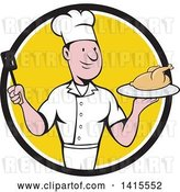 Vector Clip Art of Retro Cartoon White Male Chef Holding a Spatula and Serving a Roasted Chicken in a Black White and Yellow Circle by Patrimonio
