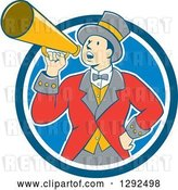 Vector Clip Art of Retro Cartoon White Male Circus Ringmaster Announcing Through a Bullhorn in a Blue and White Circle by Patrimonio