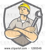 Vector Clip Art of Retro Cartoon White Male Construction or Builder Worker with Folded Arms and a Wrench in a Gray Shield by Patrimonio