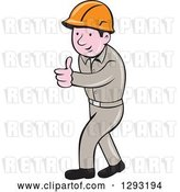 Vector Clip Art of Retro Cartoon White Male Construction Worker Foreman Giving a Thumb up by Patrimonio
