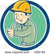 August 14th, 2018: Vector Clip Art of Retro Cartoon White Male Construction Worker Foreman Giving a Thumb up in a Blue White and Green Circle by Patrimonio