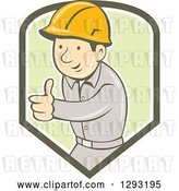 Vector Clip Art of Retro Cartoon White Male Construction Worker Foreman Giving a Thumb up in a Green and White Shield by Patrimonio