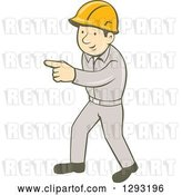Vector Clip Art of Retro Cartoon White Male Construction Worker Pointing by Patrimonio