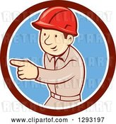 Vector Clip Art of Retro Cartoon White Male Construction Worker Pointing in a Maroon White and Blue Circle by Patrimonio
