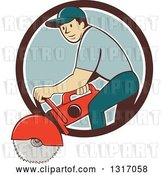 Vector Clip Art of Retro Cartoon White Male Construction Worker Using a Concrete Cutter Tool in a Brown White and Blue Circle by Patrimonio