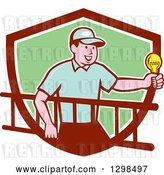 Vector Clip Art of Retro Cartoon White Male Electrician Carrying a Ladder and Holding a Light Bulb in a Maroon White and Green Shield by Patrimonio