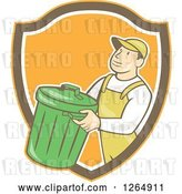 Vector Clip Art of Retro Cartoon White Male Garbage Guy Carrying a Bin in an Orange Brown and White Shield by Patrimonio