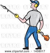 Vector Clip Art of Retro Cartoon White Male Gardener Holding a Hedge Trimmer by Patrimonio