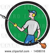 Vector Clip Art of Retro Cartoon White Male Gardener Holding a Hedge Trimmer, Emerging from a Black White and Green Circle by Patrimonio