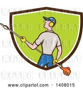Vector Clip Art of Retro Cartoon White Male Gardener Holding a Hedge Trimmer, Emerging from a Brown White and Green Shield by Patrimonio