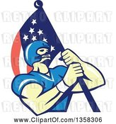 Vector Clip Art of Retro Cartoon White Male Gridiron American Football Player Carrying an American Flag by Patrimonio