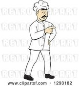 Vector Clip Art of Retro Cartoon White Male Head Chef with a Mustache, Pointing by Patrimonio