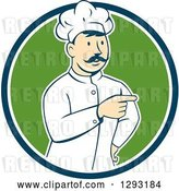 Vector Clip Art of Retro Cartoon White Male Head Chef with a Mustache, Pointing in a Blue White and Green Circle by Patrimonio