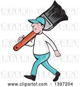 Vector Clip Art of Retro Cartoon White Male House Painter Carrying a Giant Brush on His Shoulder by Patrimonio