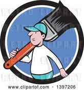 Vector Clip Art of Retro Cartoon White Male House Painter Carrying a Giant Brush on His Shoulder, Emerging from a Black White and Blue Circle by Patrimonio