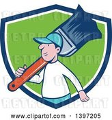 Vector Clip Art of Retro Cartoon White Male House Painter Carrying a Giant Brush on His Shoulder, Emerging from a Blue White and Green Shield by Patrimonio