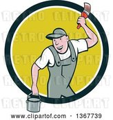 Vector Clip Art of Retro Cartoon White Male House Painter Holding a Bucket and a Brush, Emerging from a Circle by Patrimonio