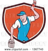 Vector Clip Art of Retro Cartoon White Male House Painter Holding a Bucket and a Brush, Emerging from a Shield by Patrimonio