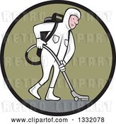 Vector Clip Art of Retro Cartoon White Male Industrial Janitor Wearing a Biohazard Suit and Vacuuming with a Back Pack in a Black and Green Circle by Patrimonio