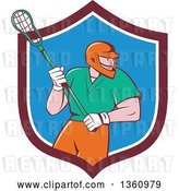 Vector Clip Art of Retro Cartoon White Male Lacrosse Player with a Stick in a Maroon White and Blue Shield by Patrimonio