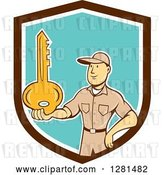 Vector Clip Art of Retro Cartoon White Male Locksmith Holding out a Giant Gold Key in a Brown White and Turquoise Shield by Patrimonio