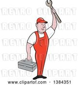 Vector Clip Art of Retro Cartoon White Male Mechanic Holding a Tool Box and Wrench by Patrimonio