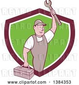 Vector Clip Art of Retro Cartoon White Male Mechanic Holding a Tool Box and Wrench in a Shield by Patrimonio