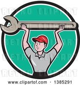 Vector Clip Art of Retro Cartoon White Male Mechanic Holding up a Giant Spanner Wrench in a Black White and Turquoise Circle by Patrimonio