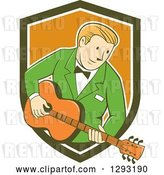 Vector Clip Art of Retro Cartoon White Male Musician Playing a Guitar and Emerging from a Green White and Orange Shield by Patrimonio