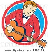 Vector Clip Art of Retro Cartoon White Male Musician Playing a Guitar and Emerging from a Red White and Blue Circle by Patrimonio