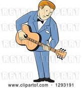 Vector Clip Art of Retro Cartoon White Male Musician Playing a Guitar and Wearing a Blue Suit by Patrimonio