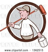 Vector Clip Art of Retro Cartoon White Male Painter Carrying a Can and a Roller Brush over His Shoulder, Emerging from a Brown White and Gray Circle by Patrimonio
