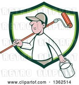 Vector Clip Art of Retro Cartoon White Male Painter Carrying a Can and a Roller Brush over His Shoulder, Emerging from a Green and White Shield by Patrimonio