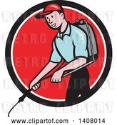 Vector Clip Art of Retro Cartoon White Male Pest Control Exterminator Spraying in a Black White and Red Circle by Patrimonio