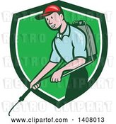 Vector Clip Art of Retro Cartoon White Male Pest Control Exterminator Spraying in a Green and White Shield by Patrimonio