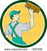 Vector Clip Art of Retro Cartoon White Male Plasterer in a Green White and Yellow Circle by Patrimonio