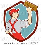Vector Clip Art of Retro Cartoon White Male Plasterer in a Maroon White and Turquoise Shield by Patrimonio