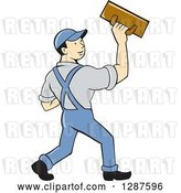 Vector Clip Art of Retro Cartoon White Male Plasterer Worker by Patrimonio