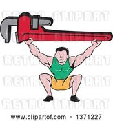 Vector Clip Art of Retro Cartoon White Male Plumber Bodybuilder Doing Squats with a Giant Monkey Wrench by Patrimonio