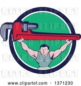 Vector Clip Art of Retro Cartoon White Male Plumber Bodybuilder Doing Squats with a Giant Monkey Wrench in a Blue White and Green Circle by Patrimonio