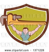 Vector Clip Art of Retro Cartoon White Male Plumber Bodybuilder Doing Squats with a Giant Monkey Wrench in a Shield by Patrimonio