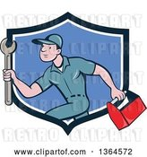 Vector Clip Art of Retro Cartoon White Male Plumber Carrying a Monkey Wrench and Tool Box in a Blue and White Shield by Patrimonio