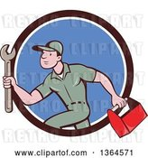 Vector Clip Art of Retro Cartoon White Male Plumber Carrying a Monkey Wrench and Tool Box in a Brown White and Blue Circle by Patrimonio