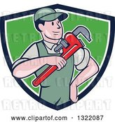Vector Clip Art of Retro Cartoon White Male Plumber Holding a Giant Monkey Wrench in a Blue White and Green Shield by Patrimonio