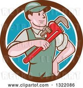 Vector Clip Art of Retro Cartoon White Male Plumber Holding a Giant Monkey Wrench in a Brown White and Blue Circle by Patrimonio