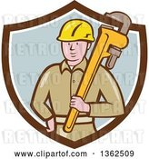 Vector Clip Art of Retro Cartoon White Male Plumber Holding a Giant Monkey Wrench in a Brown White and Pastel Blue Shield by Patrimonio