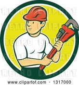Vector Clip Art of Retro Cartoon White Male Plumber Holding a Giant Monkey Wrench in a Green White and Yellow Circle by Patrimonio